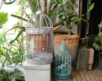 set of 2 hanging bird cage style votive tealight holder lanterns, shabby turquoise, glittery silver