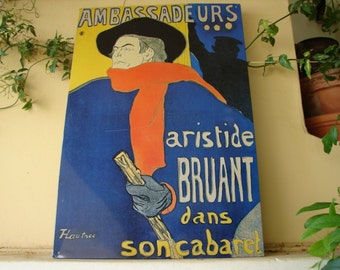 vintage French tole tin sign,1960s large tole plaque,cabaret French sign  23 1/4'' x 15.5''