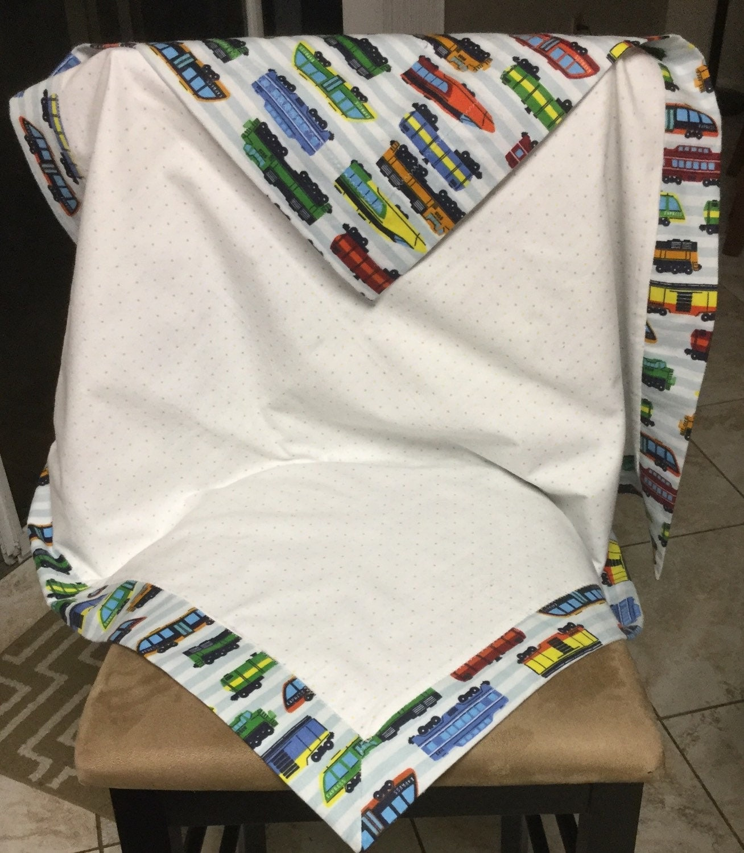 Trains And Polka Dots Self Binding Baby Blanket
