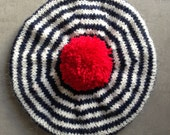Nautical, Beret, Breton Stripes, Children's Hat, Hand Knitted Beret, Wool Tam, Navy Blue, Red White And Blue, Hat, Tam, UK Seller