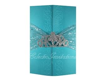 100 Teal Princess Invitations - Quinceañera, Sweet 16, birthday party invitations.
