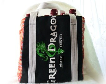 Green Dragon, Beverage Holder, Six Pack Carrier, Upcycled Green Dragon T Shirt Beer Bag Again, Craft Beer, Beer, Brew Bag, Brews
