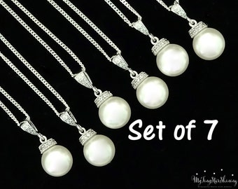 Wedding Jewelry Bridesmaid Pearl Necklace Bridesmaid Gift Set of 7 Swarovski Crystal Pearl Necklace Bridal Jewelry Pearl Wedding Gift 15%Off