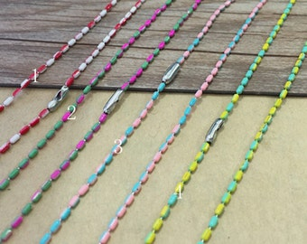 50pcs  27inch Mixed color copper chain With connector 1.5mm