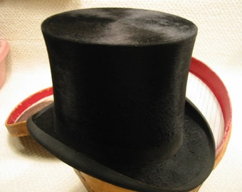 Vintage Antique Top Hat and Leather Carrying Case . . D. Magee's Sons Hatters & Furriers, St John, NB. .late 1800's . .RARE . .Free Shipping
