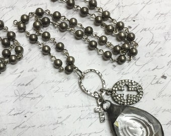 Soldered Crystal Dragon's Eye Prism chandelier crystal Necklace Gun metal Beaded Rosary style Chain  Molten Soldered