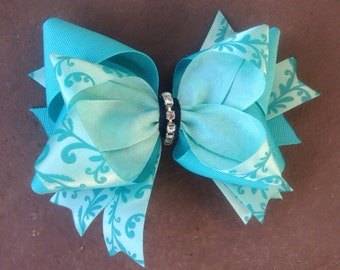 Little Girls Hair Bow, Turquoise Blue Hair Bow with Sparkle Ready to Ship