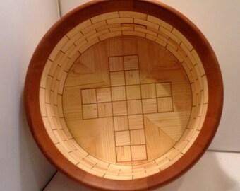 Pine and Cherry veneer cross segmented bowl by ShopDrennan