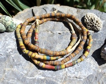2 Strands Vintage African Trade Beads, Pressed Glass, Sand Cast, Beads Traveling the Globe, T. 56