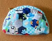 Handsewn hexagon dumpling zip pouch