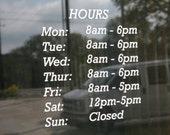 Store Front Hours Decals