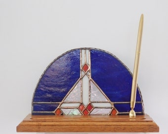 Stained Glass Pen Set with Solid Oak Base