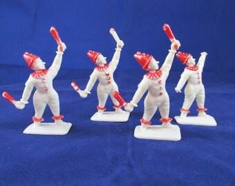 Small Vintage Plastic Clowns - Lot of 4