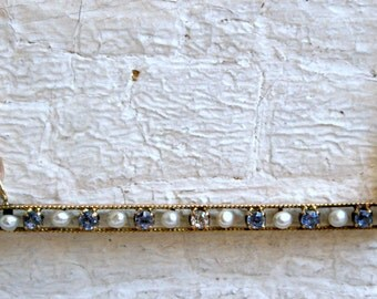 Gorgeous Antique Old Mine Cut Diamond, Sapphire, and Pearl Necklace in 9K Yellow Gold.