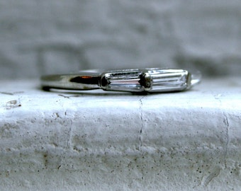 RESERVED - Fabulous Vintage 14K White Gold Baguette Cut Diamond Wedding Band - 0.36ct.