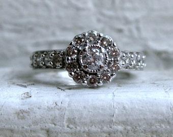 Lovely Vintage 14K White Gold Diamond Cluster Engagement Ring - 1.00ct