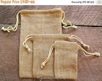 CLEARANCE SALE Set of 5 Burlap Drawstring Bags, Rustic Natural Pouches, 3 sizes available