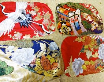 4pc Destash Vintage KIMONO Fabric Small Scrap