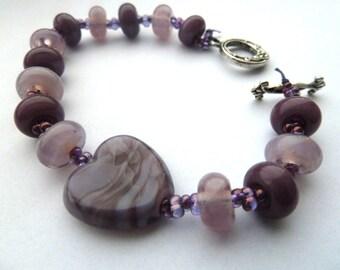 handmade purple heart lampwork glass bracelet UK jewellery