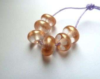 bronze dust handmade lampwork glass beads