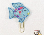 Glitter Vinyl Embroidered Planner Paper Clips - Blue Colorful Fish