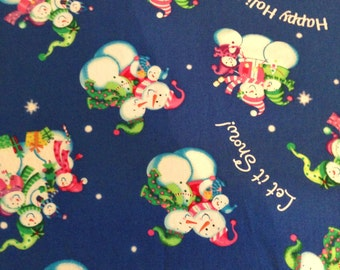 1 Yard 100% Cotton Blue Snowmen/Christmas/Winter Print Fabric