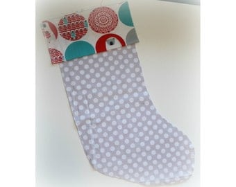 Christmas Stocking - Personalized Stocking - Fully Lined Cotton Stocking - White Dots on Grey Background, Polar Bear Cuff
