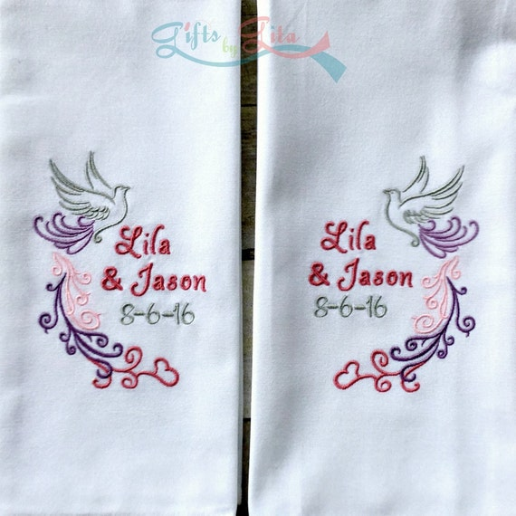 Personalised Wedding Gifts Towels : of wedding towels, personalized wedding date towels with dove, wedding ...
