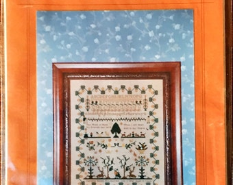 "Reproduction Cross Stitch Sampler Pattern, ""With My Needle"" by Caroline Bevan, 1845"