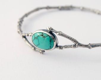 Twig bangle turquoise botanical bangle bracelet - sterling silver twig and buds bangle turquoise cabochon
