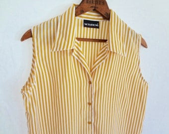 RESERVED  //  Vintage Striped Sleeveless Blouse Women Mustard Yellow Silky Top Button down Women 80s 90s