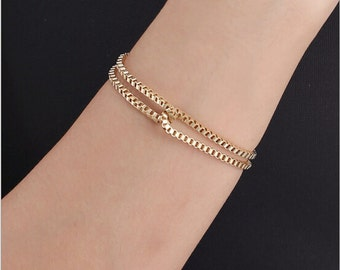Box chain gold or silver bracelet in asorted colors