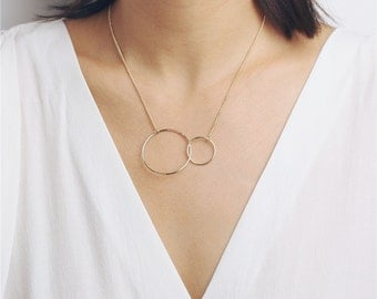 Delicate simple everyday large double open circle necklace