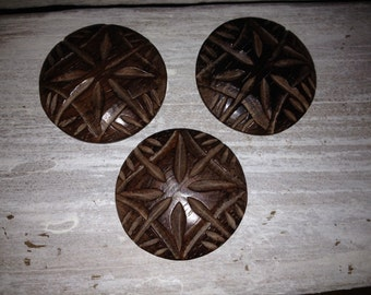 Three Large Carved Wooden Buttons *Great Design*