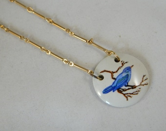 Vintage Sarah Coventry Paradise Blue Bird Ceramic Pendant Necklace / 1970s Pendant in the Original Box New Old Stock Vintage Jewelry
