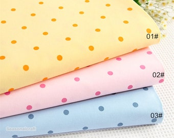 Cotton Fabric, Twill Cotton Fabric, Dots Fabric, Pink Blue Yellow Dots Cotton Fabric, Polka Dot, ,Decor Fabric 1/2 Yard (QT890)