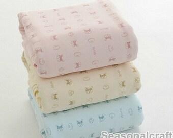 Cotton Flannel Knitted Fabric, Animals, Kids Chirdren fabric, Stretch Fabric, Cute Cartoon Pattern 1/2 Yard  (QT644)