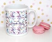 Alice In Wonderland Mug, Drink Me Mug, Psychedelic Scroll Mug, Statement Mug, Coffee Cup, Whimsical Mug, UK