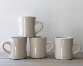 Four retro style vintage white mugs / simple minimalist thick ceramic cup set / coffee tea mug set / retro diner restaurant style mug set