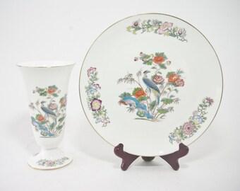 Vintage Wedgwood Cookie Plate and Vase, Kutani Crane Pattern, Vintage Wedgwood Kutani Crane