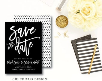 Chuck Bass Printed Save the Dates | Wedding Save the Date | Black and White Invitation | Printed or Printable by Darby Cards Collective