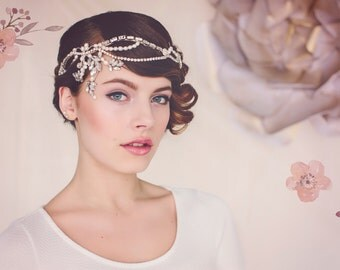 Art Deco Bridal headpiece, wedding headpiece, statement headpiece, bridal crystal headpiece, The Norma Flapper Bridal Headpiece #140