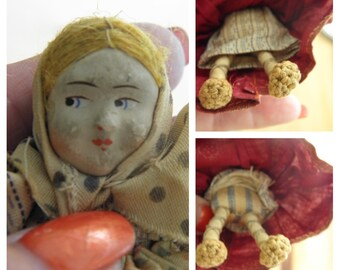 """30's Antique Stockinette Rare Russian 4"""" Peasant Doll, Made in Soviet Union"""