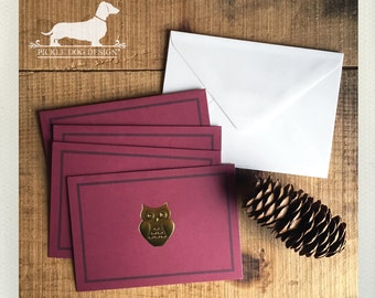 CLEARANCE! Owl Love You. Note Cards (Set of 4) -- (Vintage-Style, Bird, Gold Foil, Burgandy, Thank You, Simple, Baby Shower, Bridal Shower)