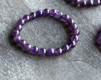 Amethyst 8 mm Round Stretchy String Bracelet S98