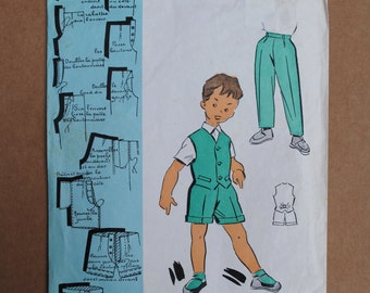 Vintage French Original Sealed Unopened Sewing Pattern 1950's Patron Modèle Boy's Trousers Shorts and Waistcoat to fit age 2 - 4  #101657