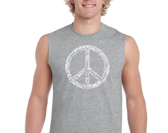 Men's Sleeveless Shirt - The Word Peace In 77 Languages