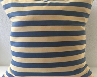 Single Pillow Cover 20x20 inch-Free US Shipping-Blue and Yellow Stripe Home Decor Fabric