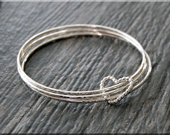Set of 3 Sterling Silver Bangle Bracelets, Wrapped In Love, Floating Heart Bangle, Stacking Bracelet, Sterling Silver Heart Bangle