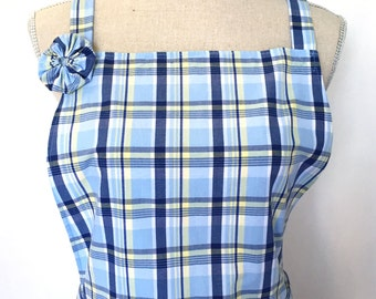 Woman's Apron - Blue, Navy and Yellow Plaid - Womens' Kitchen Apron - Made From Men's Dress Shirt - Recycled Upcycled - Cooking Apron